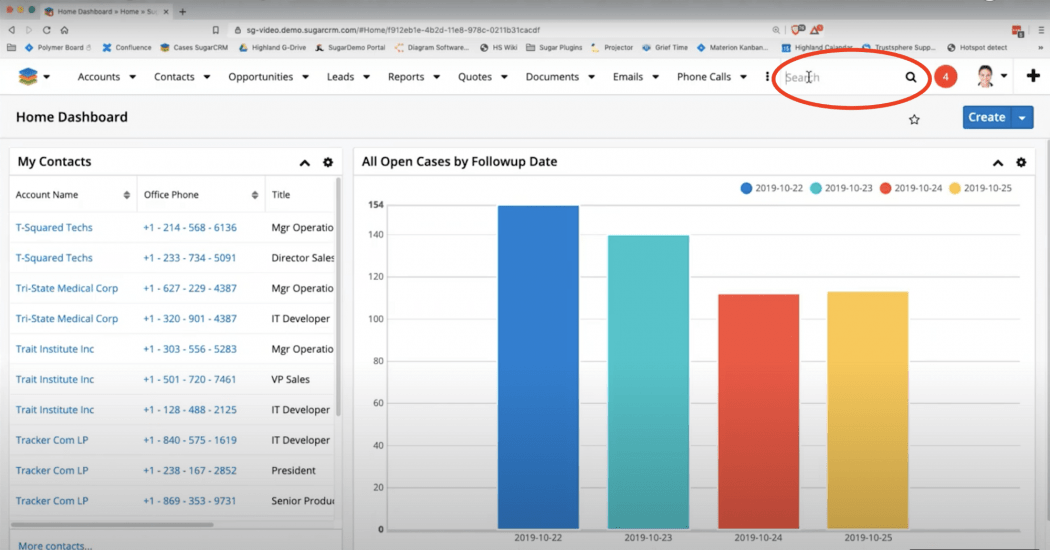Screen shot of the SugarCRM home dashboard with a red circle around the search field in the upper right-hand corner.
