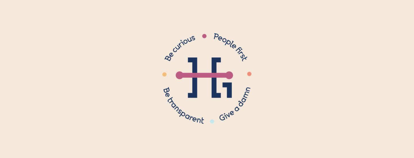 A graphic showing the Highland logo and our four values: People First, Give a Damn, Be Transparent, Be Curious