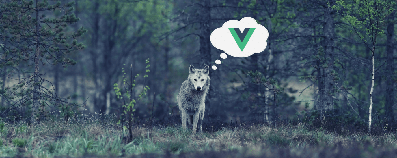 A wolf alone in a forest, with a thought bubble over the left side of its head with the Vue logo inside.