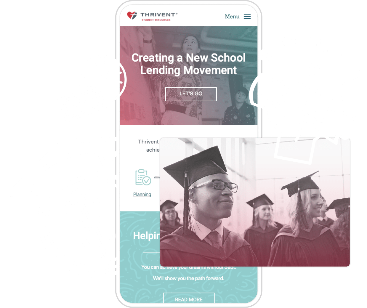 Thrivent mobile view with a photo of graduates at the front. White icons overlayed: a clock, dollar sign, degree